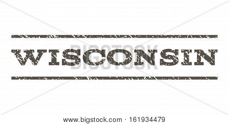 Wisconsin watermark stamp. Text tag between horizontal parallel lines with grunge design style. Rubber seal stamp with unclean texture. Vector grey color ink imprint on a white background.