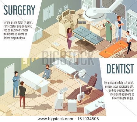 Hospital isometric banners set with dentists and doctors working in surgery isolated vector illustration