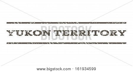 Yukon Territory watermark stamp. Text tag between horizontal parallel lines with grunge design style. Rubber seal stamp with scratched texture. Vector grey color ink imprint on a white background.