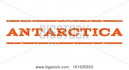 Antarctica watermark stamp. Text caption between horizontal parallel lines with grunge design style. Rubber seal stamp with scratched texture. Vector orange color ink imprint on a white background.