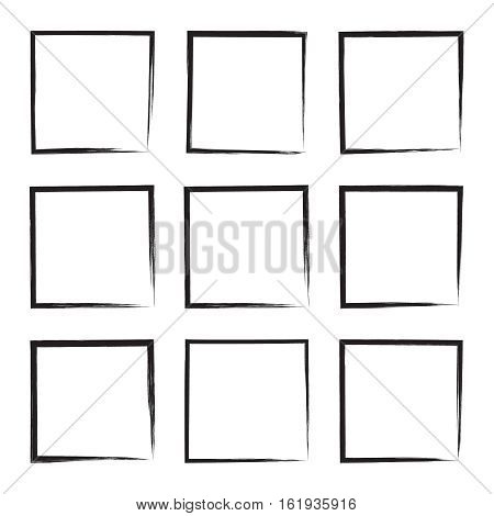 Set hand drawn square, photo, foto frame. Text box from black smears. Vector Black stroke border felt-tip pen objects.