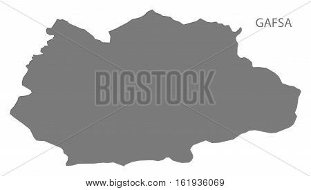 Gafsa Tunisia Map grey governorate silhouette illustration