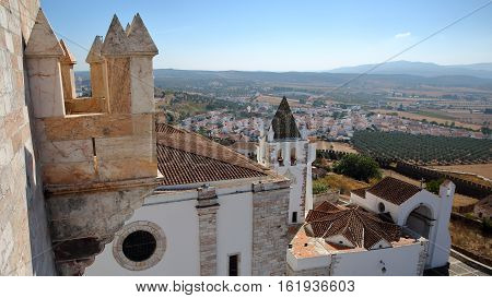 ESTREMOZ, PORTUGAL: View from the Tower of the Three Crowns (Torre das Tres Coroas)  with the Santa Maria Church in the foreground
