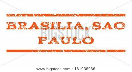 Brasilia, Sao Paulo watermark stamp. Text caption between horizontal parallel lines with grunge design style. Rubber seal stamp with dirty texture.