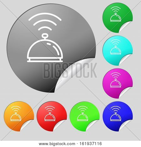 Tray Icon Sign. Set Of Eight Multi Colored Round Buttons, Stickers. Vector