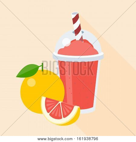 Grapefruit smoothie in plastic glass, flat design with long shadow