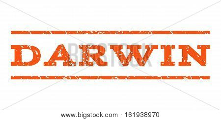 Darwin watermark stamp. Text tag between horizontal parallel lines with grunge design style. Rubber seal stamp with dust texture. Vector orange color ink imprint on a white background.