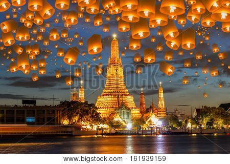 Floating lamp in yee peng festival under loy krathong day at wat arun Bangkok Thailand