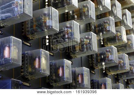 Electronic relays.Industrial equipment.Industrial equipment closeup .Control panel.