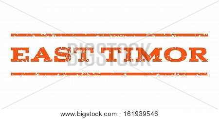 East Timor watermark stamp. Text tag between horizontal parallel lines with grunge design style. Rubber seal stamp with unclean texture. Vector orange color ink imprint on a white background.