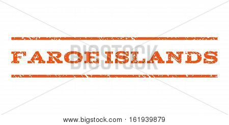Faroe Islands watermark stamp. Text caption between horizontal parallel lines with grunge design style. Rubber seal stamp with unclean texture. Vector orange color ink imprint on a white background.