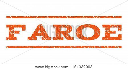 Faroe watermark stamp. Text tag between horizontal parallel lines with grunge design style. Rubber seal stamp with dirty texture. Vector orange color ink imprint on a white background.