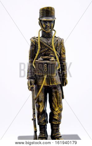 Bronze Figurine Of A Soldier From The Spanish Signal Corps Of The Early 20Th Century With A Telephon