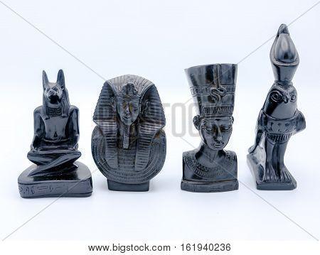 Alabaster Figurines Depicting Pharaoh Tutankhamun And His Wife Nefertari, Surrounded By The Egyptian