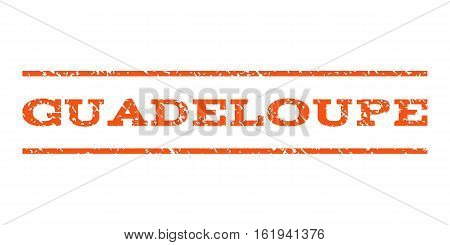 Guadeloupe watermark stamp. Text caption between horizontal parallel lines with grunge design style. Rubber seal stamp with unclean texture. Vector orange color ink imprint on a white background.