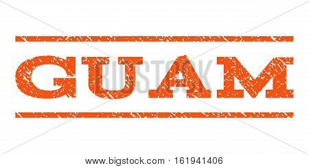 Guam watermark stamp. Text caption between horizontal parallel lines with grunge design style. Rubber seal stamp with unclean texture. Vector orange color ink imprint on a white background.