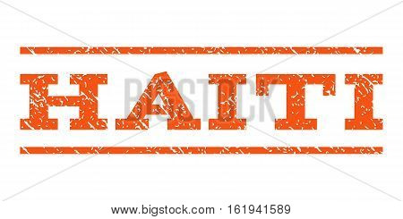 Haiti watermark stamp. Text tag between horizontal parallel lines with grunge design style. Rubber seal stamp with unclean texture. Vector orange color ink imprint on a white background.