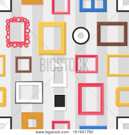 Photo frame seamless pattern. Antique background with picture frames for your design. Decorative painting vintage square elements. Vector retro border wallpaper gallery.