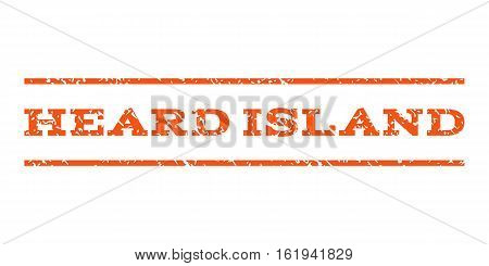 Heard Island watermark stamp. Text tag between horizontal parallel lines with grunge design style. Rubber seal stamp with dust texture. Vector orange color ink imprint on a white background.