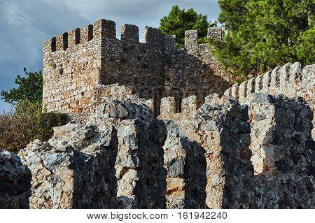 Walls and turret of Seljuk fortress in Alanya Turkey