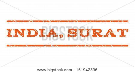 India, Surat watermark stamp. Text tag between horizontal parallel lines with grunge design style. Rubber seal stamp with dirty texture. Vector orange color ink imprint on a white background.