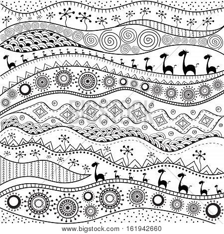 African hand-drawn ethno pattern tribal background. It can be used for wallpaper web page and others. Vector