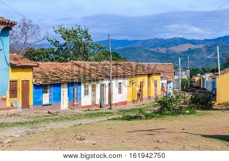 TRINIDAD, CUBA - MARCH 25, 2016: Colorful houses in the UNESCO World Heritage old town of Trinidad Cuba