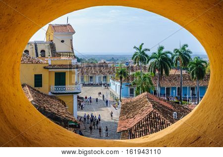 TRINIDAD, CUBA - MARCH 25, 2016: Window view from San Francisco Convent in the UNESCO World Heritage old town of Trinidad Cuba