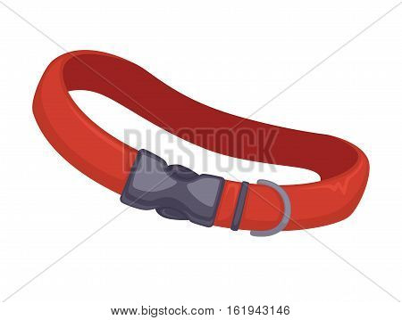 Red leather dog collar. Vector icon of dog-collar or belt for neck. domestic pet equipment for safety and security. Canine accessory for outdoors walk. Animal illustration isolated on white background.