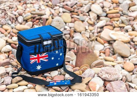 Cooler box in Australian Flag colors on Australia Day picnic