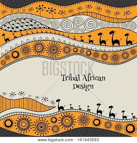 African Hand-drawn Ethno Pattern, Tribal Background. It Can Be Used For Wallpaper, Web Page And Othe