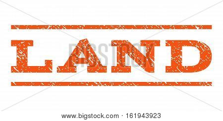 Land watermark stamp. Text caption between horizontal parallel lines with grunge design style. Rubber seal stamp with dust texture. Vector orange color ink imprint on a white background.
