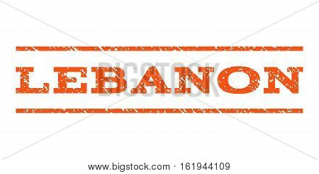 Lebanon watermark stamp. Text caption between horizontal parallel lines with grunge design style. Rubber seal stamp with scratched texture. Vector orange color ink imprint on a white background.