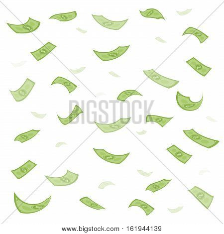 Finance Concept. Dollar Banknotes Money Rain. Hundred Dollar Banknotes Flying. Seamless Finance Back