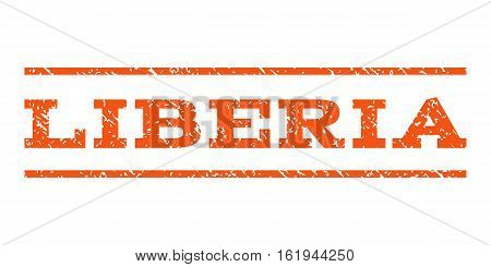 Liberia watermark stamp. Text caption between horizontal parallel lines with grunge design style. Rubber seal stamp with unclean texture. Vector orange color ink imprint on a white background.