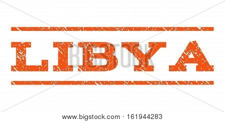 Libya watermark stamp. Text tag between horizontal parallel lines with grunge design style. Rubber seal stamp with dust texture. Vector orange color ink imprint on a white background.