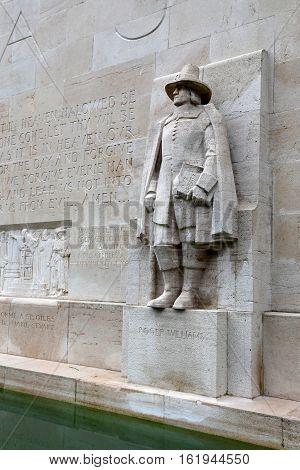 GENEVA, SWITZERLAND - JUNE 10, 2013:Statue of Roger Williams in