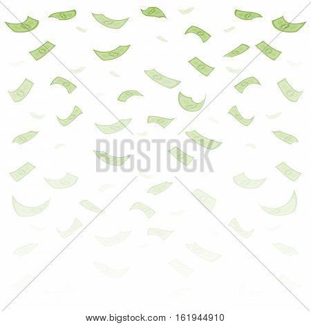 Finance Concept. Dollar Banknotes Money Rain. Hundred Dollar Banknotes Flying. Seamless Finance Back