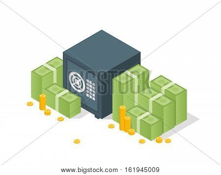 Bank Safe With Money Dollar Stacks. Safe Open With Money. Vector 3D Isometric Illustration