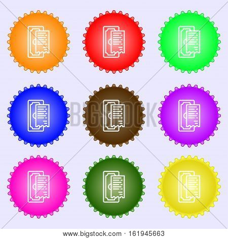 Cheque Icon Sign. Big Set Of Colorful, Diverse, High-quality Buttons. Vector