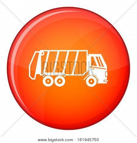 Garbage truck icon in red circle isolated on white background vector illustration