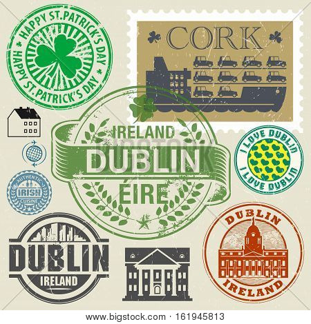 Travel stamps or symbols set Ireland Dublin theme vector illustration