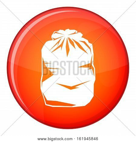 Black trash bag icon in red circle isolated on white background vector illustration