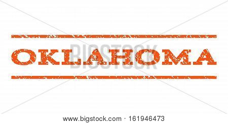 Oklahoma watermark stamp. Text tag between horizontal parallel lines with grunge design style. Rubber seal stamp with dirty texture. Vector orange color ink imprint on a white background.