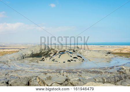 Mud Volcano Erupting Mud, Gobustan, Azerbaijan