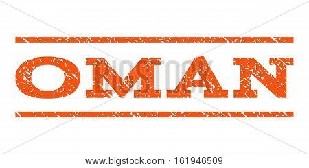 Oman watermark stamp. Text tag between horizontal parallel lines with grunge design style. Rubber seal stamp with dirty texture. Vector orange color ink imprint on a white background.