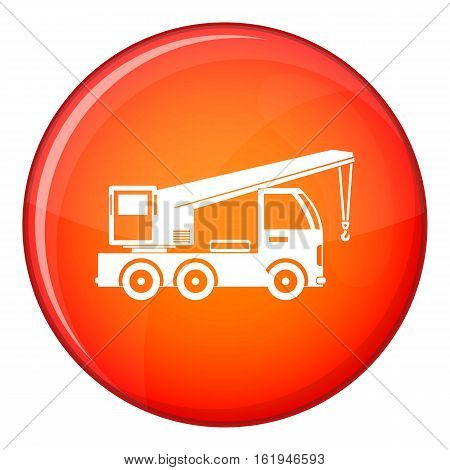 Truck mounted crane icon in red circle isolated on white background vector illustration
