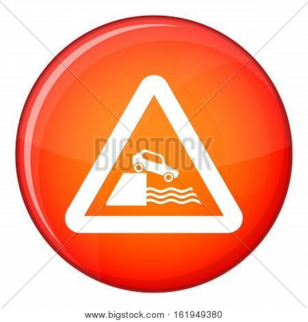 Riverbank traffic sign icon in red circle isolated on white background vector illustration