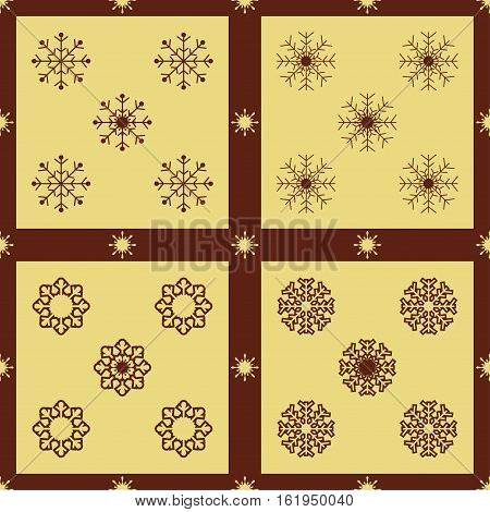 Christmas snowflakes seamless background. New year pattern vector illustration.