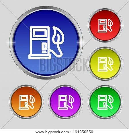 Gas Station With Leaves Icon Sign. Round Symbol On Bright Colourful Buttons. Vector